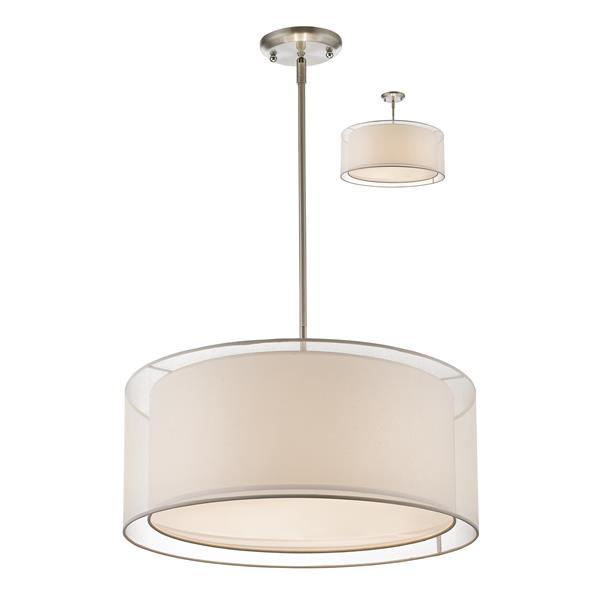 Z-Lite Sedona 3-Light Convertible Pendant - Brushed Nickel