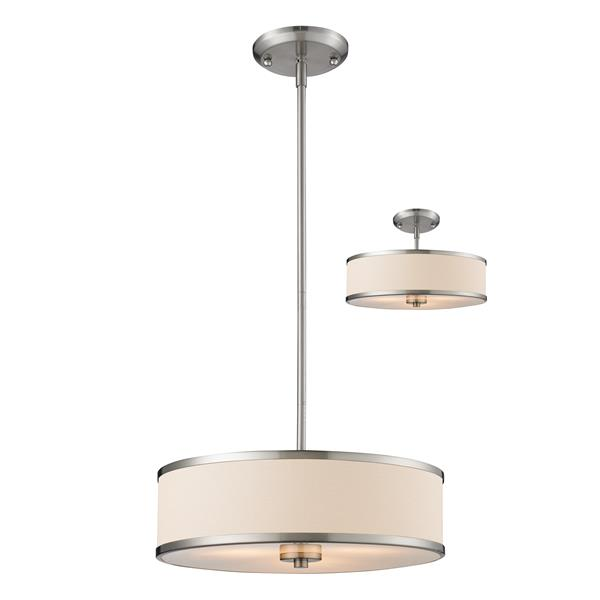 Z-Lite Cameo 3-Light Convertible Pendant Light - Brushed Nickel