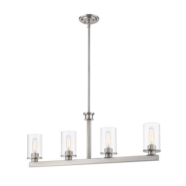 Z-Lite Savannah Contemporary 4-Light Kitchen Island Light - Nickel