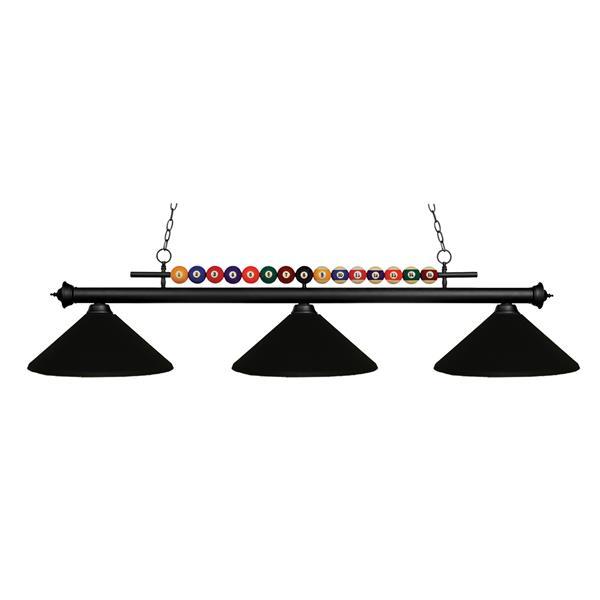 Luminaire de cuisine/billiard à 3 lumières «Shark», noir
