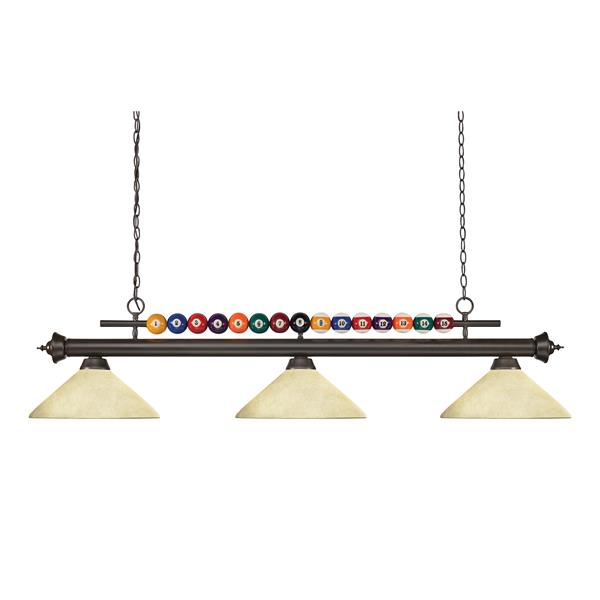 Z-Lite Shark 3-Light Kitchen Island/Billiard Light - Black