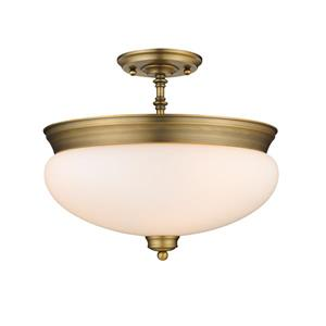 Z-Lite Amon 3-Light Semi Flush Mount Light - Brass