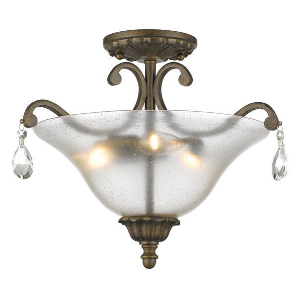 Plafonnier semi-encastré à 3 lumières «Melina», bronze doré