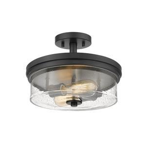 Plafonnier semi-encastré à 2 lumières «Bohin», noir mat