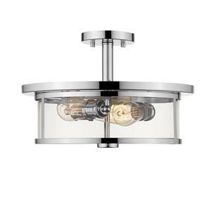 Plafonnier semi-encastré à 3 lumières «Savannah», chrome