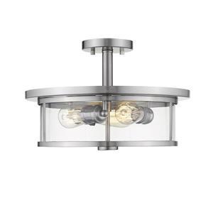 Plafonnier semi-encastré à 3 lumières «Savannah», nickel