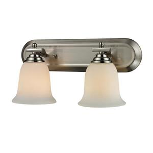 Z-Lite Lagoon 2-Light Vanity Light - 18-in - Metal - Nickel