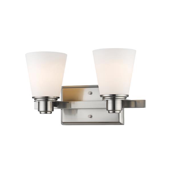 Z-Lite Kayla 2-Light Vanity Light - 13.75-in - Metal - Nickel