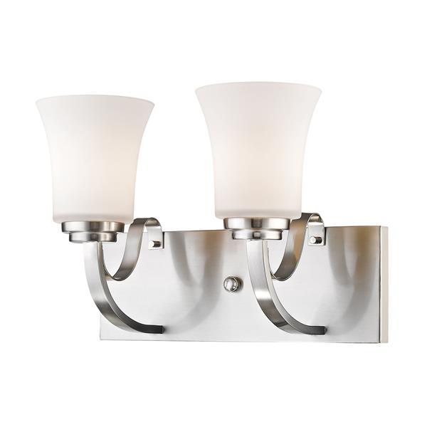 Z-Lite Halliwell 2-Light Vanity Light - 14-in - Metal - Nickel