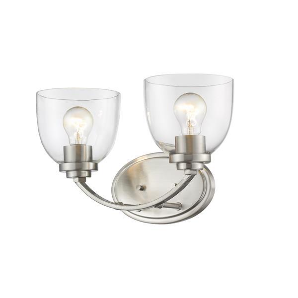 Z-Lite Ashton 2-Light Vanity Light - 14.5-in - Metal - Nickel