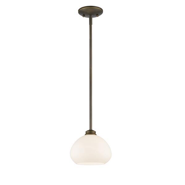 Z-Lite Amon 1-Light Pendant - 8-in - Glass - Bronze