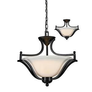 Z-Lite Lagoon 3-Light Pendant - 19.5-in - Glass - Bronze
