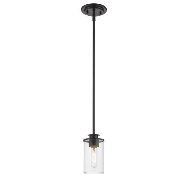 Z-Lite Savannah Pendant - 1 Light - 4.5-in - Glass - Bronze