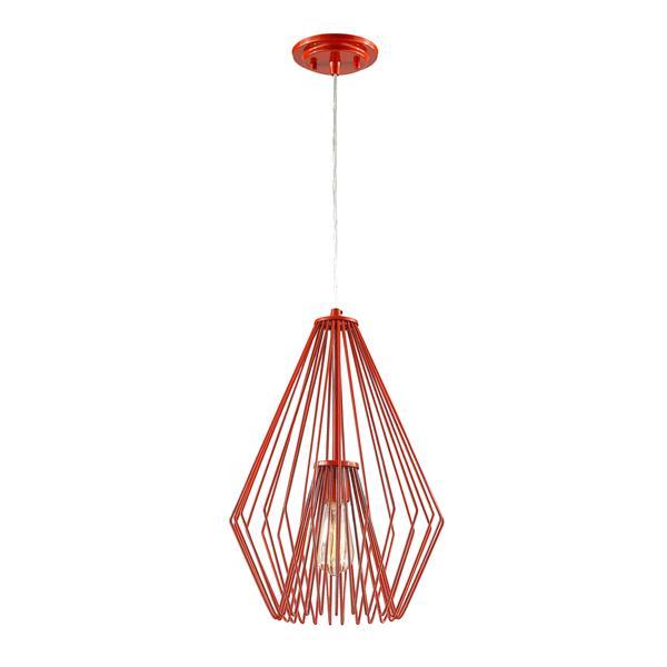 Z-Lite Quintus 1-Light Pendant - 12.25-in - Metal - Red