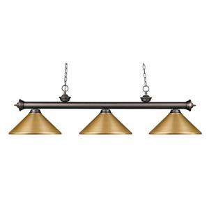 Z-Lite Riviera 3-Light Billard Light - 57-in - Gold