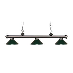 Z-Lite Riviera 3-Light Billard Light - 57-in - Dark Green