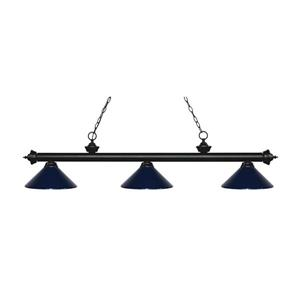 Z-Lite Riviera 3-Light Billard Light - 57.25-in - Navy Blue