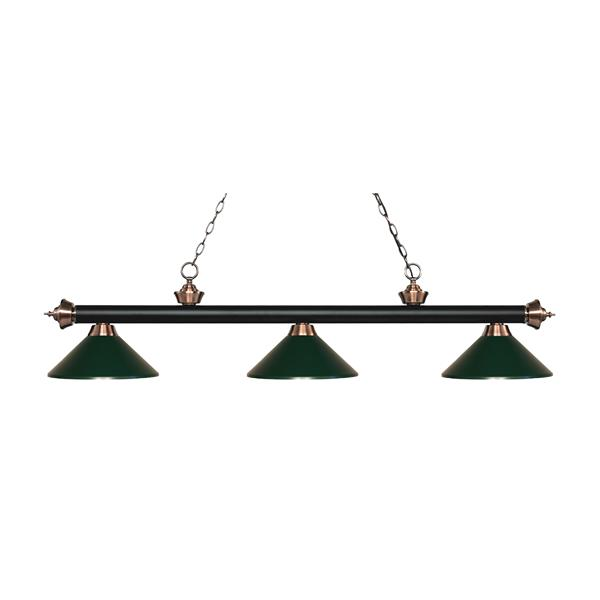 Z-Lite Riviera 3-Light Billard Light - 57.25-in - Dark Green