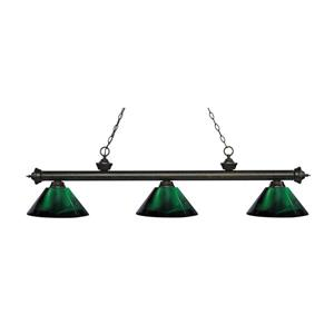Z-Lite Riviera 3-Light Billard Light - 57.25-in - Green