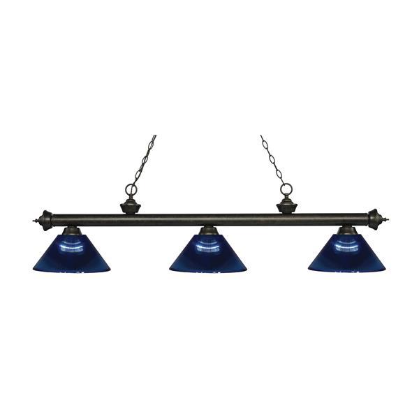 "Luminaire de billard Riviera, 3 lumières, 57,25"", bleu foncé"