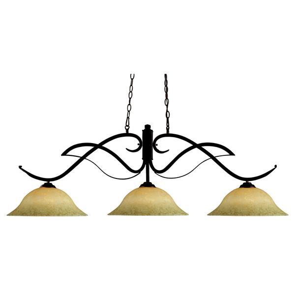 "Luminaire de billard Phoenix, 3 lumières, 54"", bronze"
