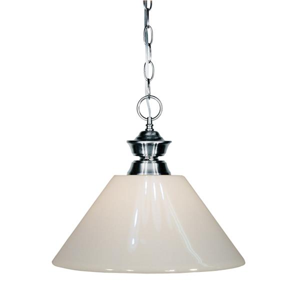 "Luminaire suspendu Shark, 1 lumière, 14"", plastique, blanc"