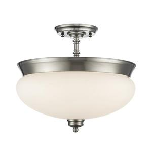Z-Lite Amon 3-Light Semi-Flush Mount - 13.5-in - Nickel