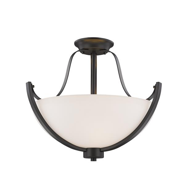 Z-Lite Halliwell 3-Light Semi-Flush Mount - 15.75-in - Bronze