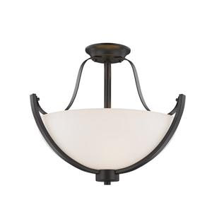 Z-Lite Halliwell 3-Light Semi-Flush Mount - 15.75-in - Bronze