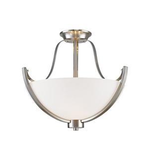 Z-Lite Halliwell 3-Light Semi-Flush Mount - 15.75-in - Nickel