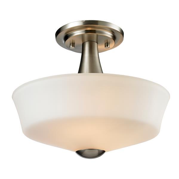 Z-Lite Montego 2-Light Semi-Flush Mount - 9.75-in - Nickel