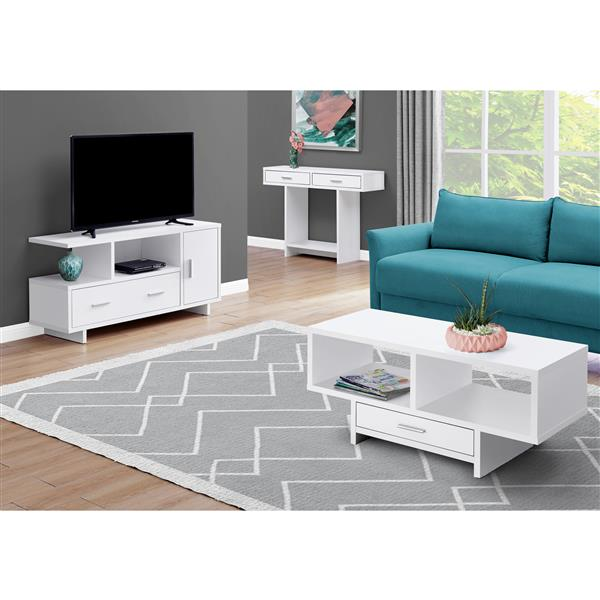 Monarch Coffee Table with Storage - 42.25-in x 18-in - Composite - White