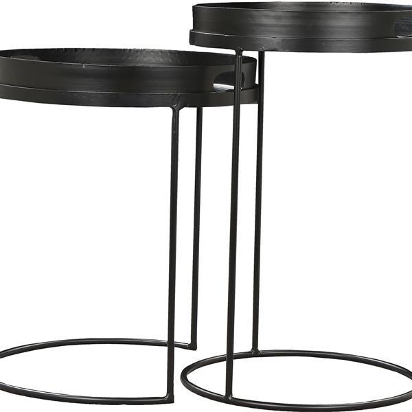 """Tables d'appoint Fannie, 15"""" x 18"""", fer, noir, 2 mcx"""