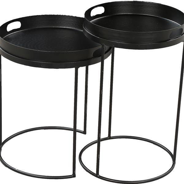 Notre Dame Design Fannie Accent Tables - 15-in x 18-in- Iron - Black - 2 pcs