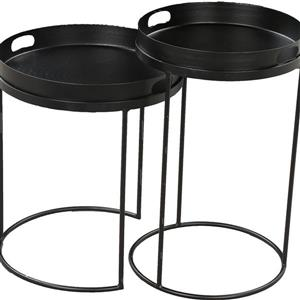 Notre Dame Design Fannie Accent Tables - 15-in x 18-in- Iron - Black - 2 pcs