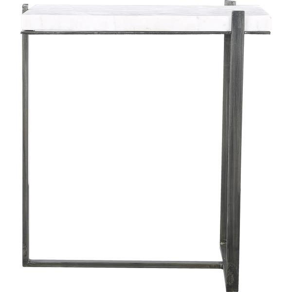 Notre Dame Design Hyder Accent Table - 15-in x 22-in- Aluminum - White/Gray