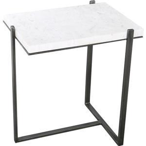 "Table d'appoint Hyder, 15"" x 22"", aluminium, blanc/gris"