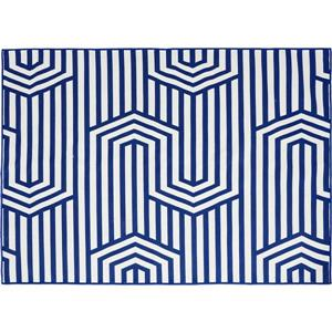 Notre Dame Design Bluebell Outdoor Rug - 78.75-in- Polyester - Blue/White