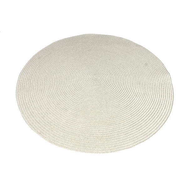 Notre Dame Design Oval Outdoor Rug - 39.3-in x 39.3-in- Polypropylene - Cream