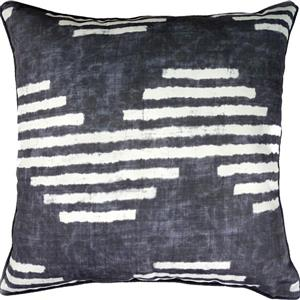 Notre Dame Design Gilford Outdoor Pillow - 22-in- Polyester - Dark Blue/White
