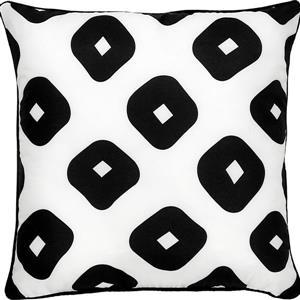 """Coussin extérieur géométrique Grenton, 22"""", polyester, blanc"""