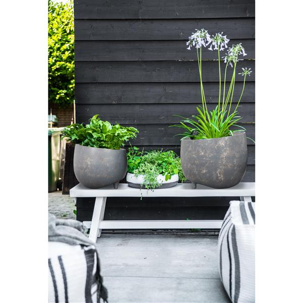 Notre Dame Design Declan Planters - 12-in x 10-in- Aluminum - Gray - 2 pcs