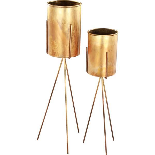Notre Dame Design Talon Planters - 8-in x 36-in- Iron - Antique Brass - 2 pcs