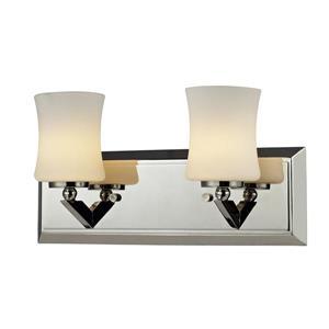 Z-Lite Elite Wall Sconce - 2-Light - Chrome/Opal Glass - 13.5-in