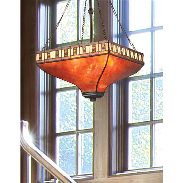 Z-Lite Crimson Pendant Light - 3-Light - Bronze and Amber Glass