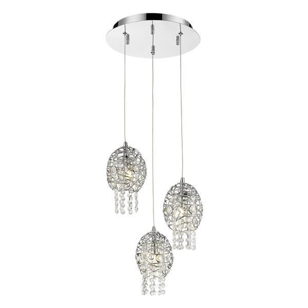 Suspension Nabul à 3 lumière avec cristaux scintillants