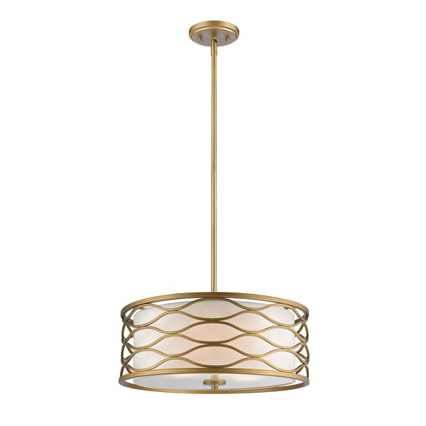 Z-Lite Severine 4 Light Pendant - Old Gold Finish and White Fabric