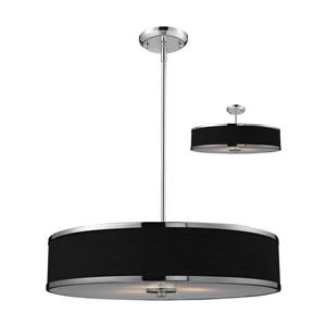 Z-Lite Cameo 3 Light Convertible Pendant - Chrome/Black - 24-in