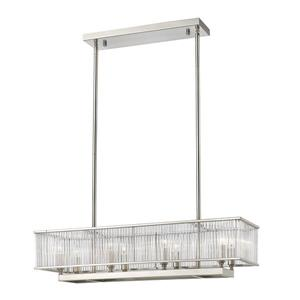 Luminaire suspendu Zalo, 8 ampoules, nickel et verre clair