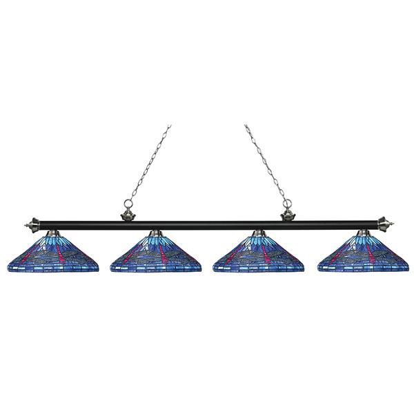 Z-Lite Riviera Pool Table Light -  4-Light - Matte Black - 82-in